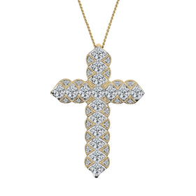 1.00 CARAT DIAMOND CROSS, 10kt YELLOW GOLD, WITH 10kt YELLOW GOLD CHAIN..................NOW