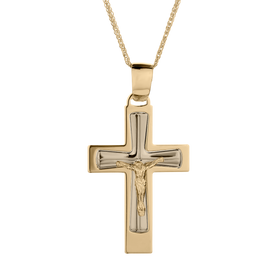 10kt (TWO TONE) FANCY ITALIAN CRUCIFIX CROSS, WITH 10kt YELLOW GOLD CHAIN.....................NOW