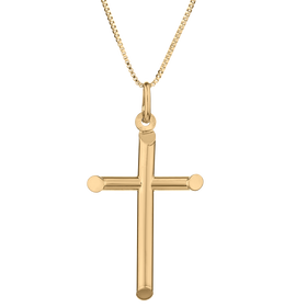10kt YELLOW GOLD ITALIAN CROSS, WITH GF CHAIN.............NOW