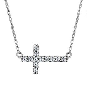 .12 CARAT DIAMOND SIDEWAYS CROSS AND CHAIN, 14kt WHITE GOLD….............................NOW
