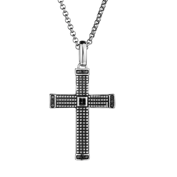 S. SILVER .16TDW BLACK DIAMOND ANTIQUED CROSS WITH SILVER CHAIN........NOW