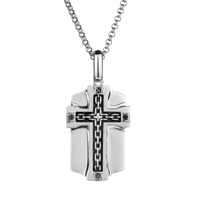 S. SILVER .04TDW BLACK DIAMOND CROSS WITH SILVER CHAIN......................NOW