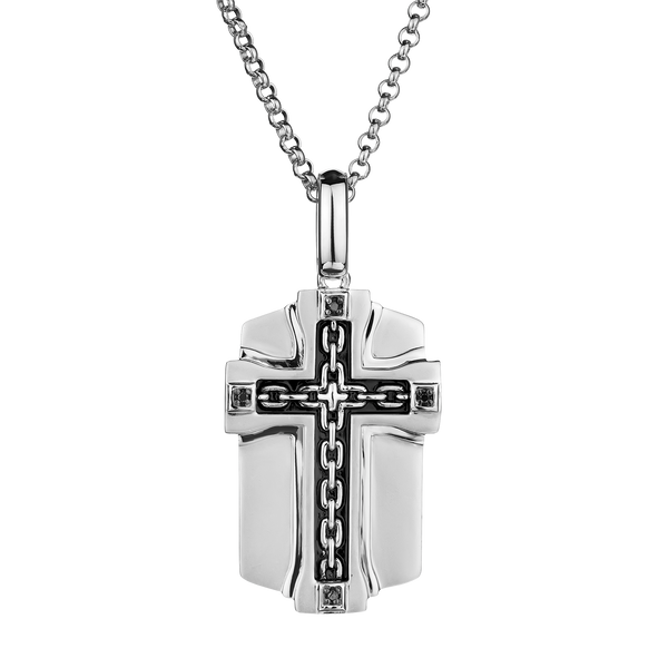 S. SILVER .04TDW BLACK DIAMOND CROSS WITH SILVER CHAIN........NOW