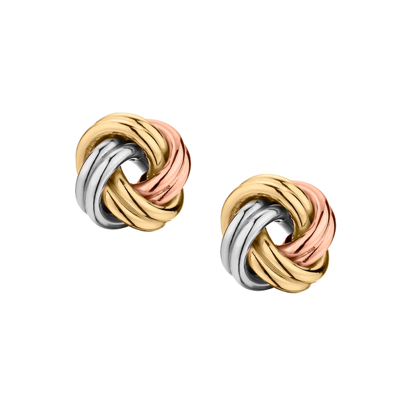 10kt (TRI-COLOUR), LOVE KNOT EARRINGS....................NOW