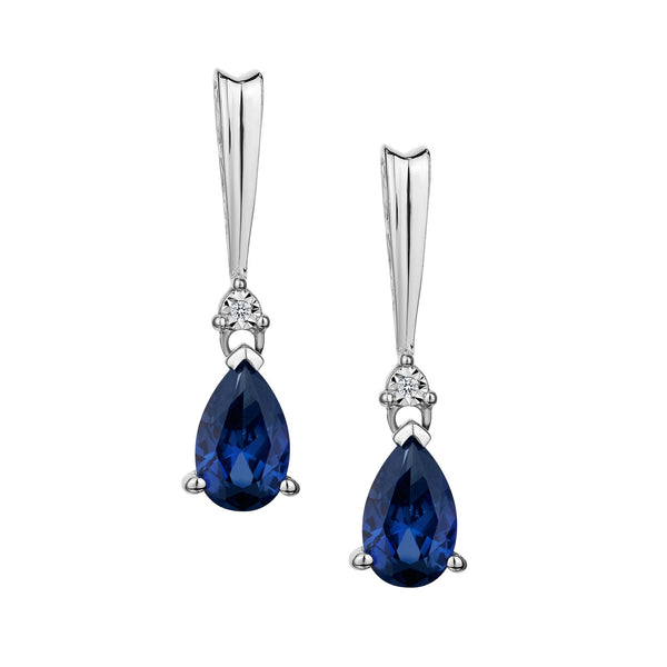 CREATED SAPPHIRE AND DIAMOND (.01) CARAT, SILVER DROP EARRINGS….............................NOW