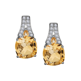 GENUINE CITRINE AND WHITE TOPAZ EARRINGS, SILVER….............................NOW