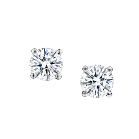 1.00 CARAT DIAMOND STUD EARRINGS, 14kt WHITE GOLD.......................NOW