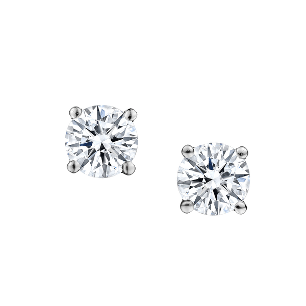 1.00 CARAT DIAMOND STUD EARRINGS, 14kt WHITE GOLD...............NOW