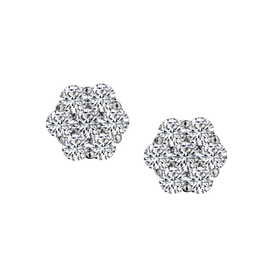 1.00 CARAT DIAMOND FLOWER EARRINGS, 10kt WHITE GOLD....................NOW