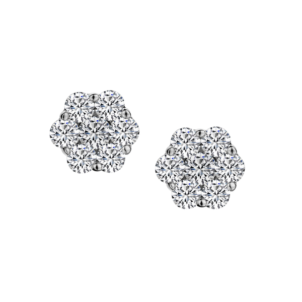.10 CARAT DIAMOND FLOWER EARRINGS, 10kt WHITE GOLD............NOW