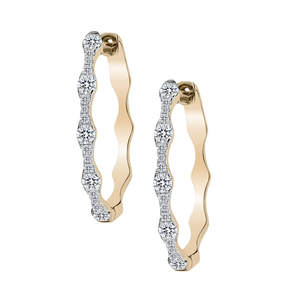 1.00 CARAT DIAMOND EARRINGS, 10kt + 14kt POSTS, YELLOW GOLD….............................NOW