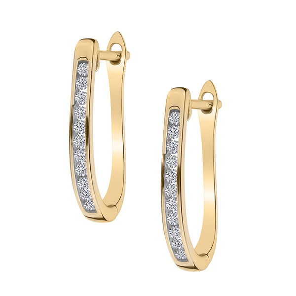 .15 CARAT DIAMOND HOOP EARRINGS, 10kt + 14kt POSTS, YELLOW GOLD….............................NOW