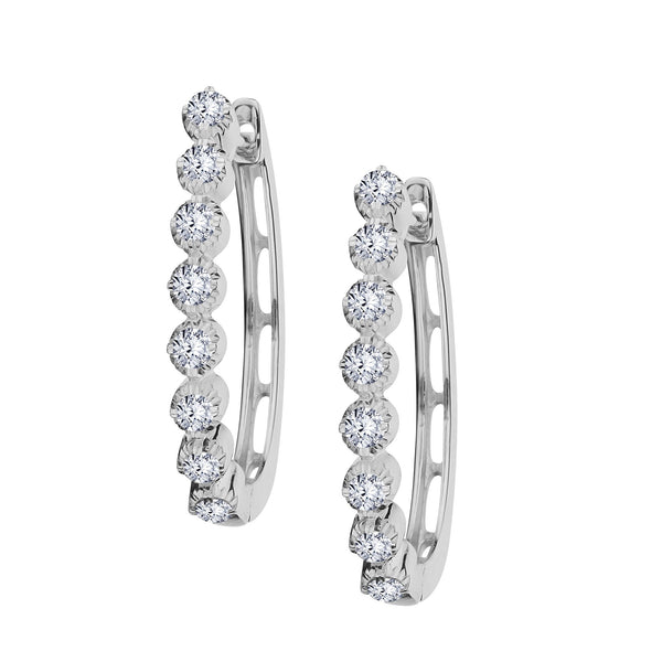 .75 CARAT DIAMOND HOOP EARRINGS, 14kt WHITE GOLD....................NOW