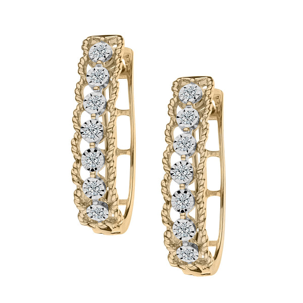 .20 CARAT DIAMOND FRENCH BACK EARRINGS, 10kt + 14kt POSTS, YELLOW GOLD......................NOW