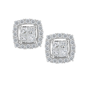 .35 CARAT DIAMOND PRINCESS STUD EARRINGS, 10kt WHITE GOLD….....................NOW