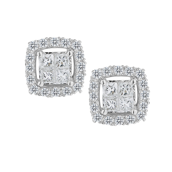 .35 CARAT DIAMOND PRINCESS STUD EARRINGS, 10kt WHITE GOLD….............................NOW