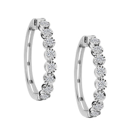 1.00 CARAT DIAMOND HOOP EARRINGS, 10kt WHITE GOLD..........................NOW