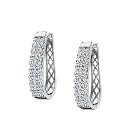 1.50 CARAT DIAMOND EARRINGS, SI1+G+ LAB DIAMOND, 14kt WHITE GOLD....................NOW