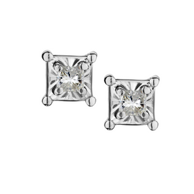 .10 CARAT PRINCESS DIAMOND STUD EARRINGS, SILVER......................NOW