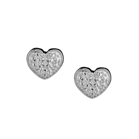 .005 CARAT DIAMOND HEART EARRINGS, SILVER......................NOW