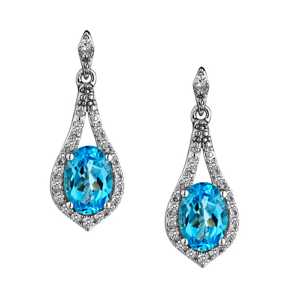 SWISS BLUE TOPAZ AND CREATED WHITE SAPPHIRE DROP EARRINGS, SILVER......................NOW