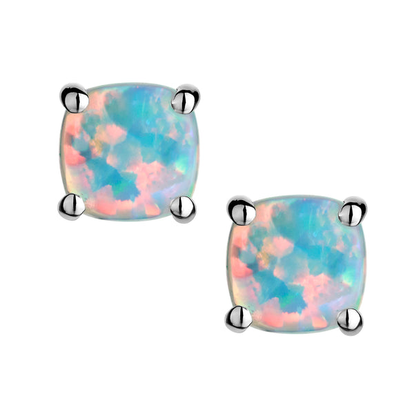 CREATED OPAL STUD EARRINGS, SILVER......................NOW