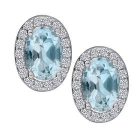 GENUINE BLUE TOPAZ AND WHITE TOPAZ OVAL STUD EARRINGS, SILVER….............................NOW