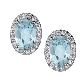 GENUINE AQUAMARINE AND WHITE TOPAZ HALO OVAL STUD EARRINGS, SILVER….............................NOW