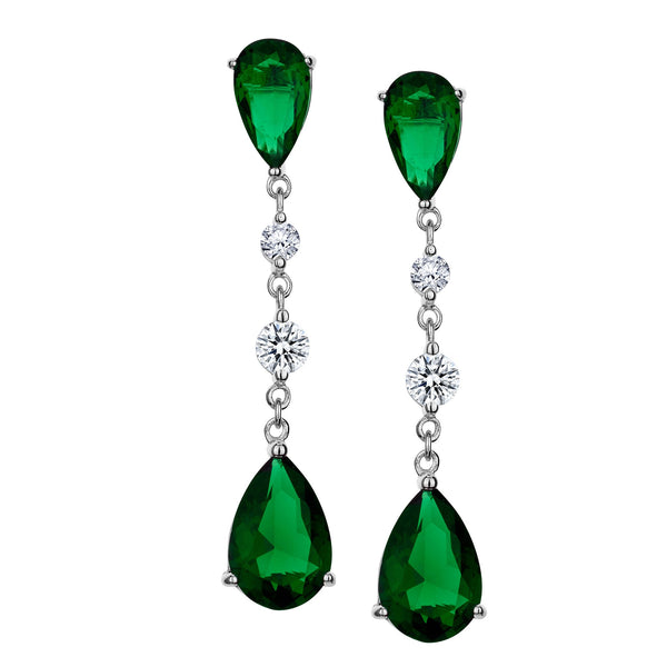 CREATED EMERALD AND WHITE SAPPHIRE DROP STUD EARRINGS, SILVER….............................NOW