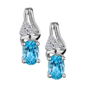 GENUINE BLUE TOPAZ AND WHITE TOPAZ STUD EARRINGS, SILVER….............................NOW
