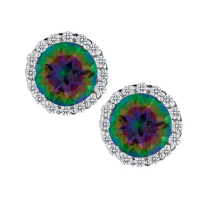 GENUINE MYSTIC TOPAZ AND WHITE TOPAZ HALO STUD EARRINGS, SILVER….............................NOW