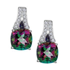 GENUINE MYSTIC TOPAZ AND WHITE TOPAZ DROP STUD EARRINGS, SILVER….............................NOW
