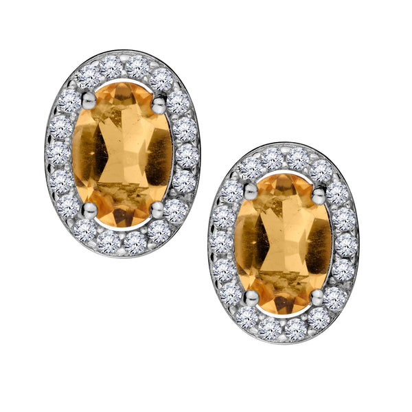 GENUINE CITRINE AND WHITE TOPAZ HALO STUD EARRINGS, SILVER......................NOW