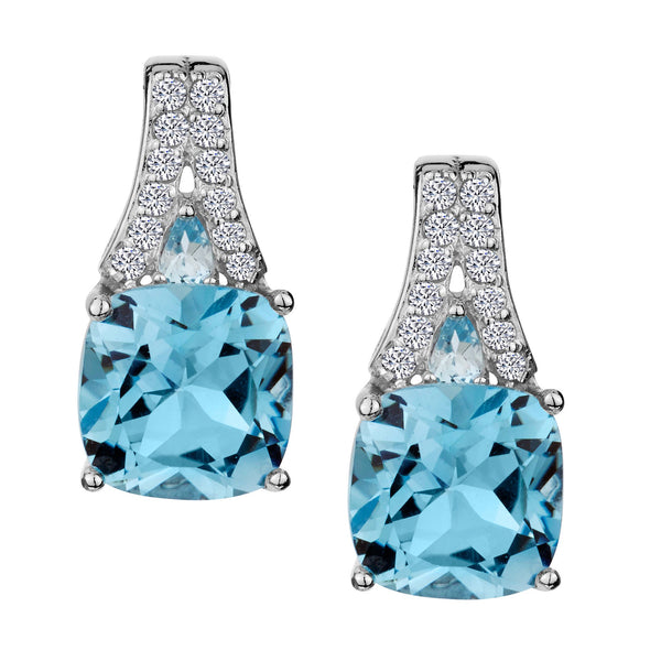 GENUINE BLUE TOPAZ AND WHITE TOPAZ DROP STUD EARRINGS, SILVER.....................NOW