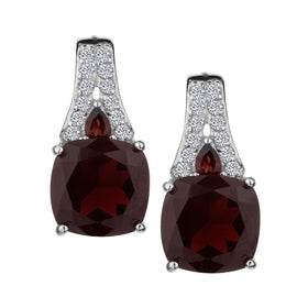 GENUINE GARNET AND WHITE TOPAZ DROP STUD EARRINGS , SILVER….............................NOW