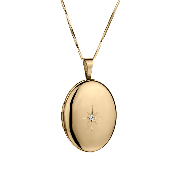 CRYSTAL LOCKET, 14kt YELLOW GOLD, WITH 10kt YELLOW GOLD CHAIN...................NOW