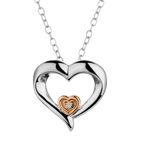 .01 CARAT DIAMOND HEART WITH SMALL HEART INSIDE NECKLACE, SILVER/ROSE GOLD PLATED, WITH SILVER CHAIN...................NOW