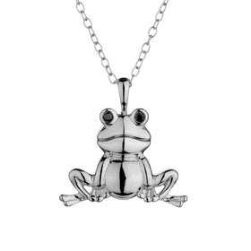 .03 CARAT DIAMOND FROG NECKLACE, SILVER, WITH SILVER CHAIN....................NOW