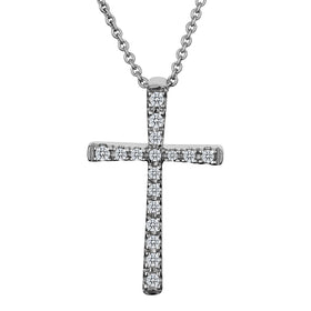 .10 CARAT DIAMOND CROSS PENDANT NECKLACE, 10kt WHITE GOLD, WITH 10kt WHITE GOLD 18