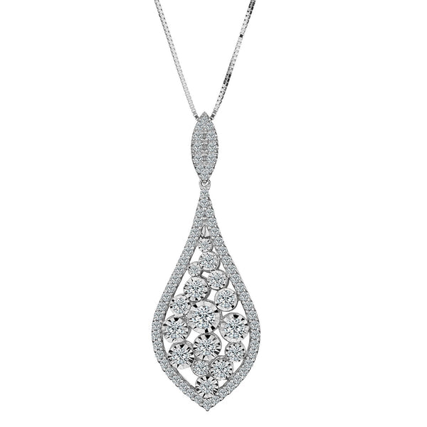 1.00 CARAT DIAMOND PENDANT, 14kt WHITE GOLD, WITH 14kt WHITE GOLD CHAIN….............................NOW