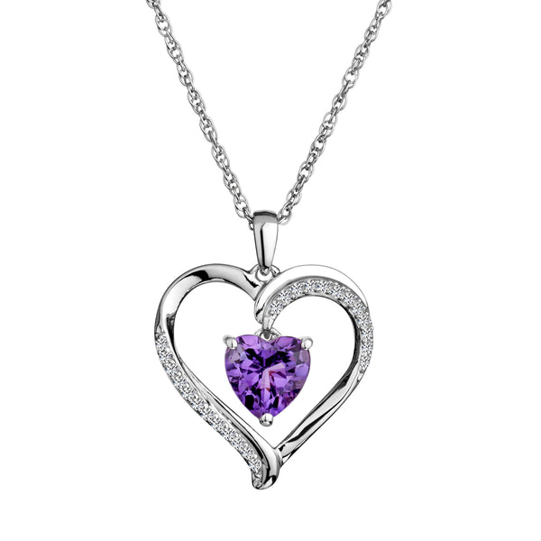 CREATED WHITE SAPPHIRE AN AMETHYST HEART PENDANT, SILVER, WITH SILVER CHAIN...............NOW