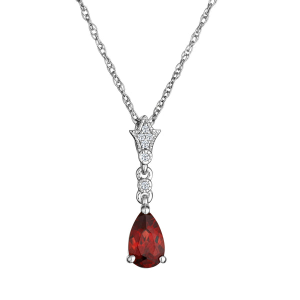 CREATED WHITE SAPPHIRE AND GARNET PENDANT, SILVER, WITH SILVER CHAIN.....................NOW