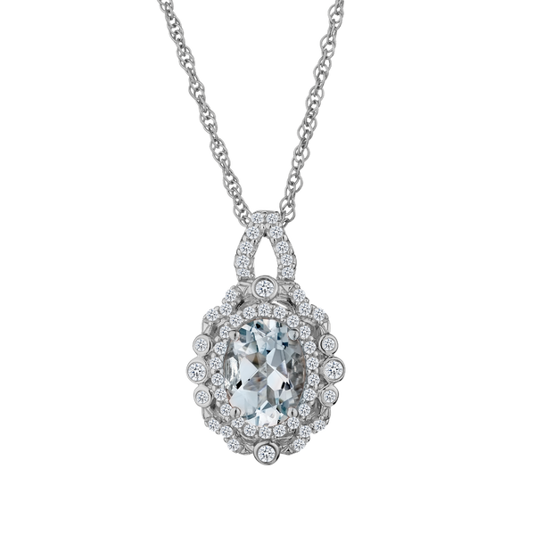 GENUINE AQUAMARINE WITH WHITE SAPPHIRE PENDANT, SILVER, WITH SILVER CHAIN....................NOW