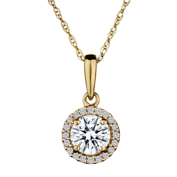 .06 CARAT DIAMOND HALO AND CREATED WHITE SAPPHIRE PENDANT, 10kt YELLOW GOLD….............................NOW