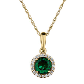 .06 CARAT DIAMOND HALO AND CREATED EMERALD PENDANT, 10kt YELLOW GOLD, WITH 10kt YEHLLOW GOLD CHAIN….....................NOW