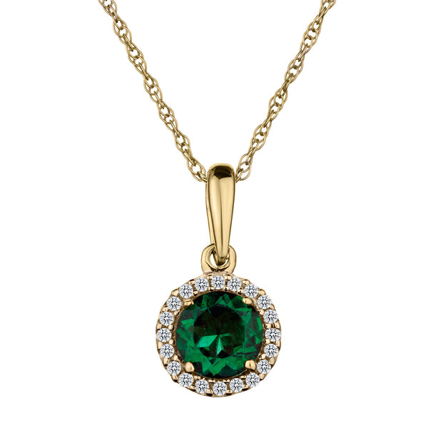 .06 CARAT DIAMOND HALO AND CREATED EMERALD PENDANT, 10kt YELLOW GOLD, WITH 10kt YEHLLOW GOLD CHAIN….............................NOW