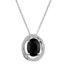 .15 CARAT DIAMOND HALO AND GENUINE SAPPHIRE PENDANT, 10kt WHITE GOLD….............................NOW