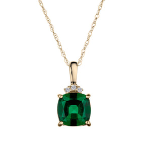 .02 CARAT DIAMOND WITH CREATED EMERALD PENDANT, 10kt YELLOW GOLD...................NOW