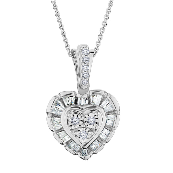 .15 CARAT DIAMOND HEART WITH HALO PENDANT, 10kt WHITE GOLD, WITH 10kt WHITE GOLD CHAIN….............................NOW