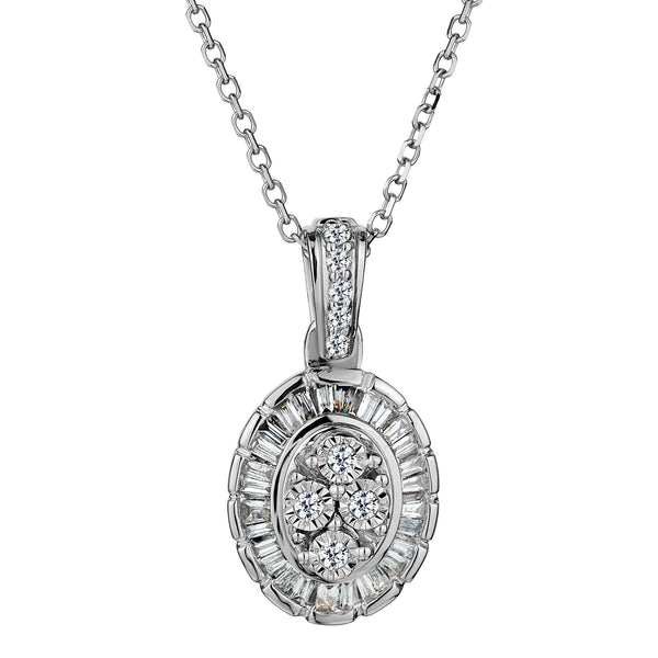 .15 CARAT DIAMOND OVAL WITH HALO PENDANT, 10kt WHITE GOLD, WITH 10kt WHITE GOLD CHAIN…...................NOW